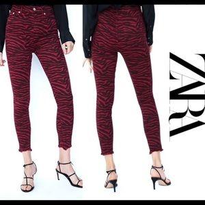 Zara red zebra print denim with frayed raw hems